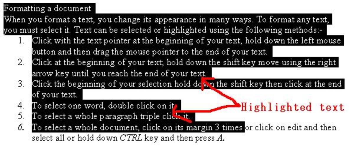 Selecting text.