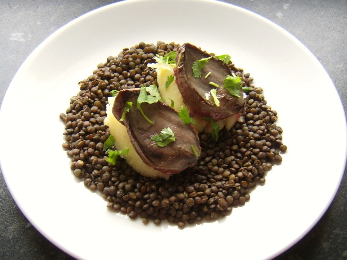 Pigeon Breasts with Mustard Mash and Green Lentils