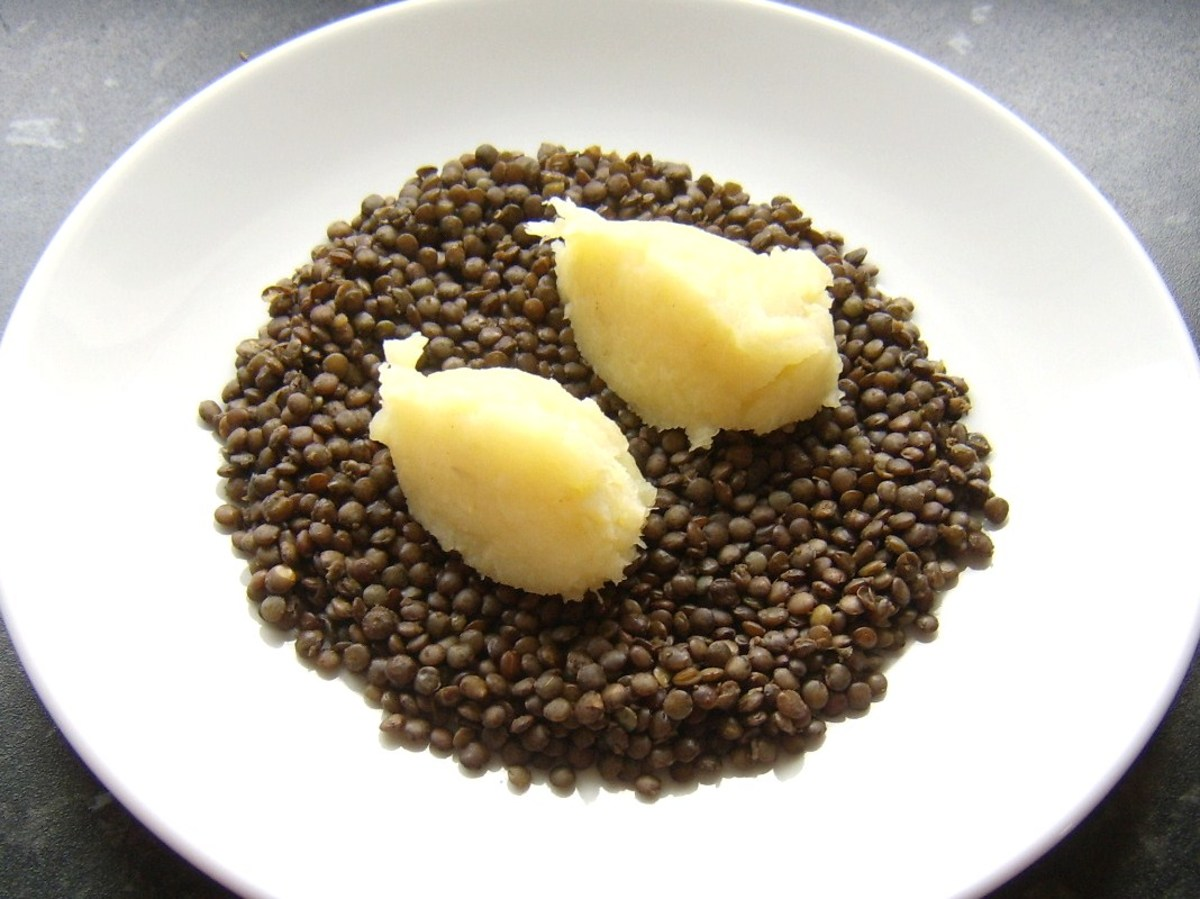Shaped mash is laid on top of lentils
