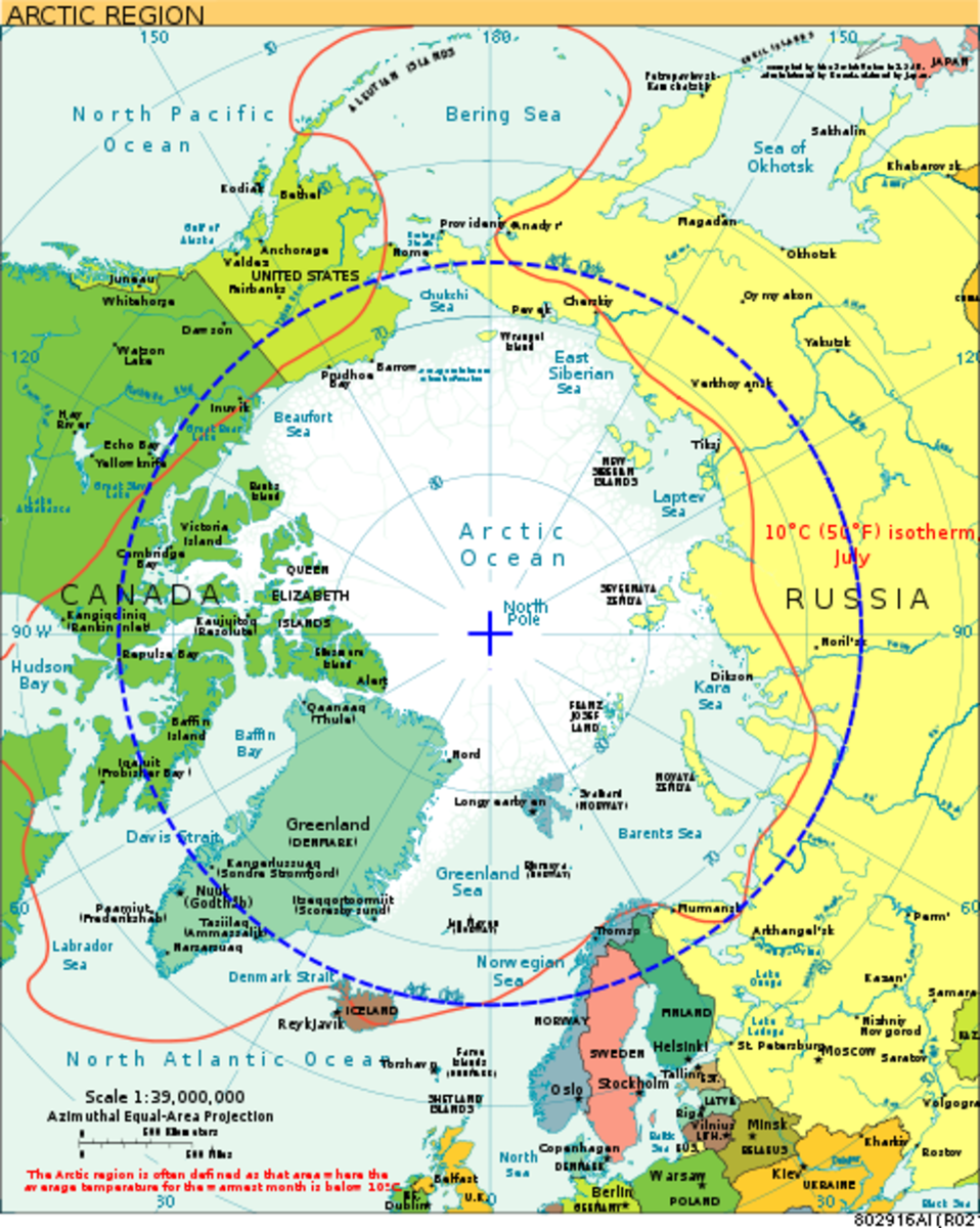 Outline of the Arctic Circle. IN this view, Alaska is in the upper left hand corner.