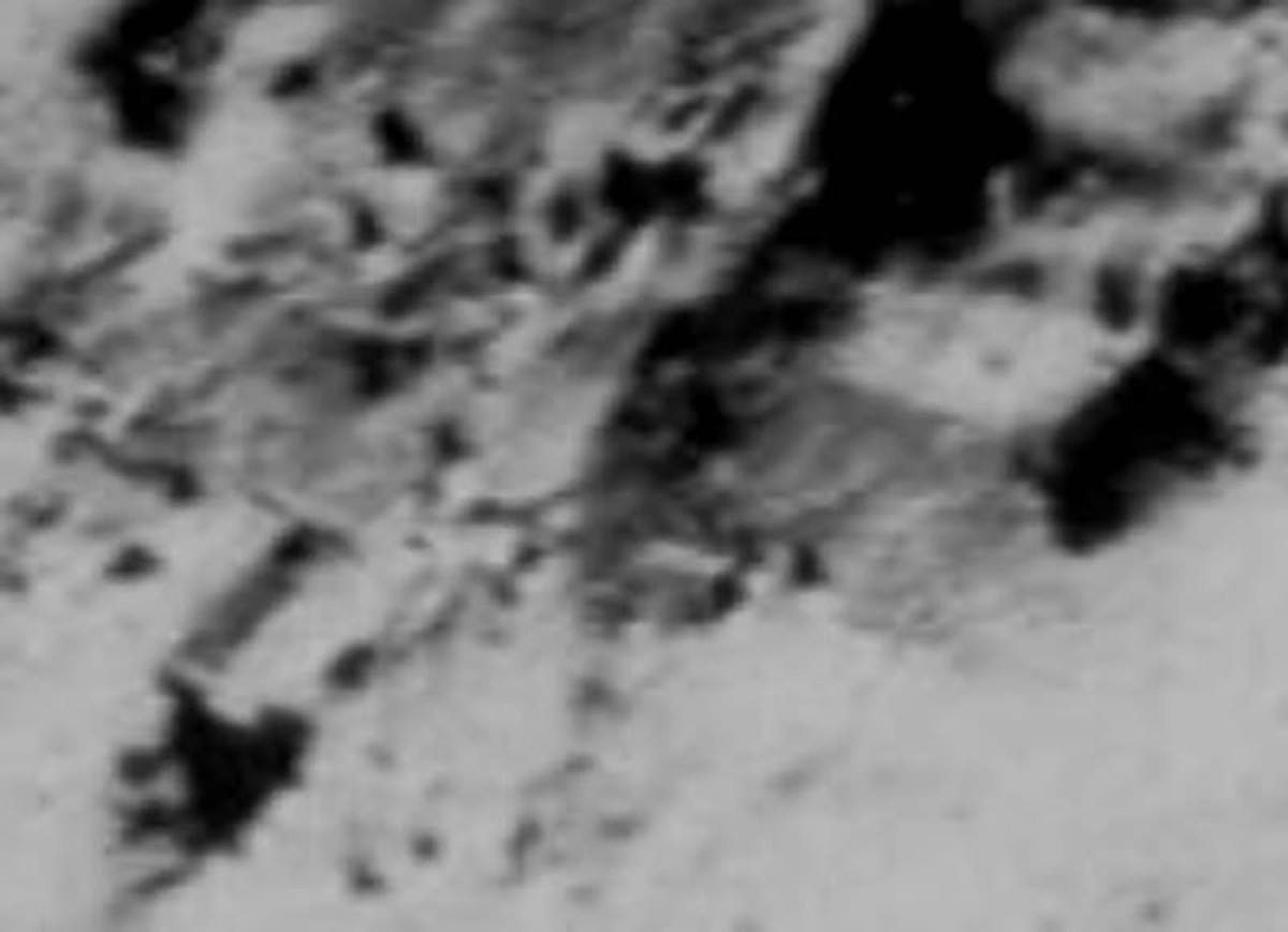 Clear structures on the lunar landscape.