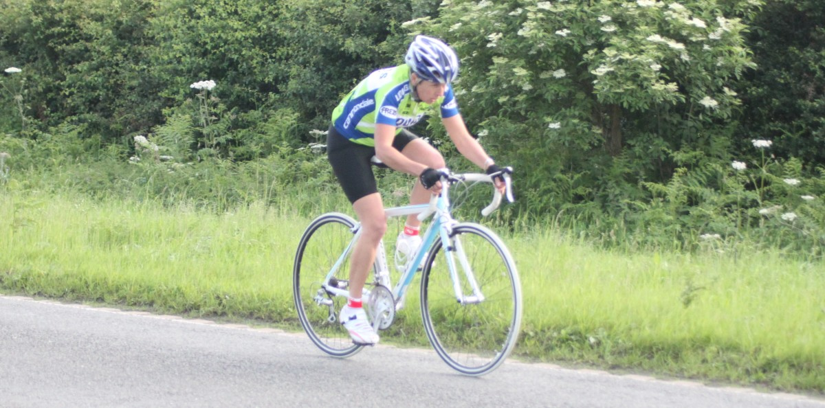 The muscles for cycling in action. A female cyclist on an Orbea road bike. The Soleus muscle of this rider is initiating the recovery phase of the pedal stroke.