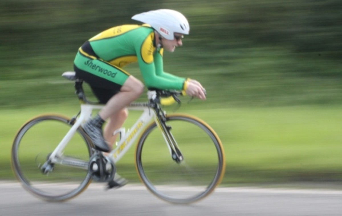 The key muscles for cycling in time trial action. This cyclist is using his hip flexors to bring the pedal to the top position prior to initiating the downward phase with the buttocks.
