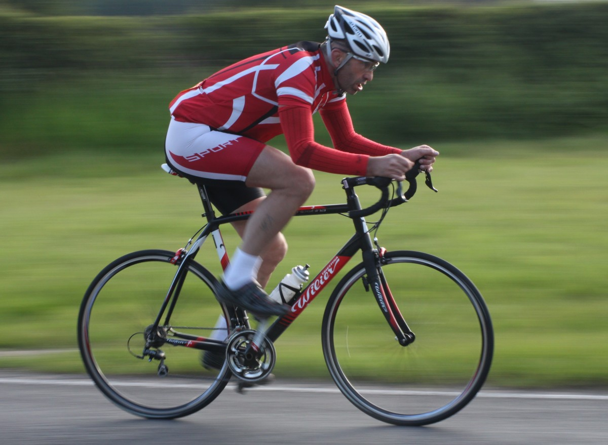 The muscles for cycling in action during a road cycling event