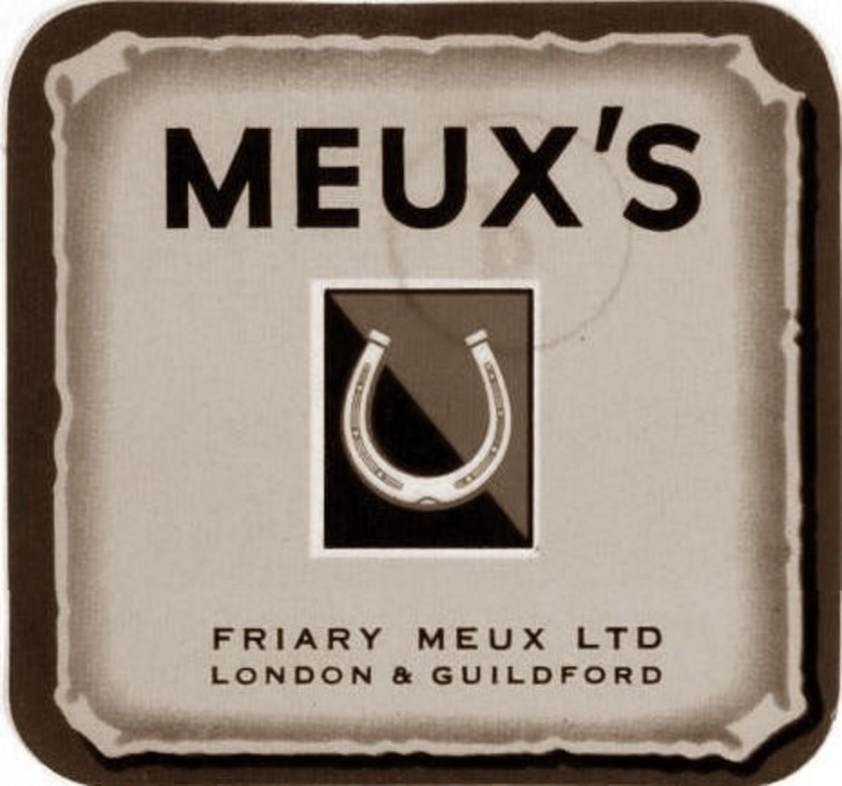 Meux's horse shoe logo.