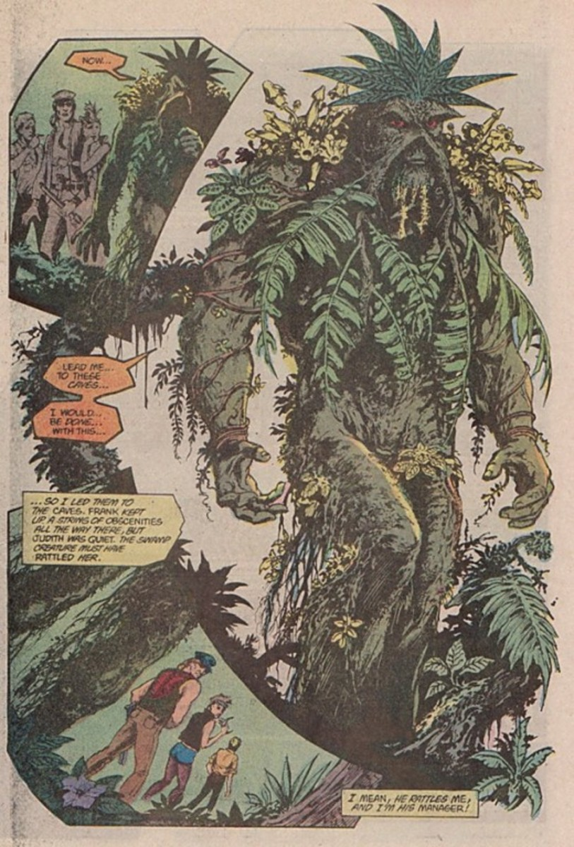 Swamp Thing takes on the appearance of the vegetation around him.