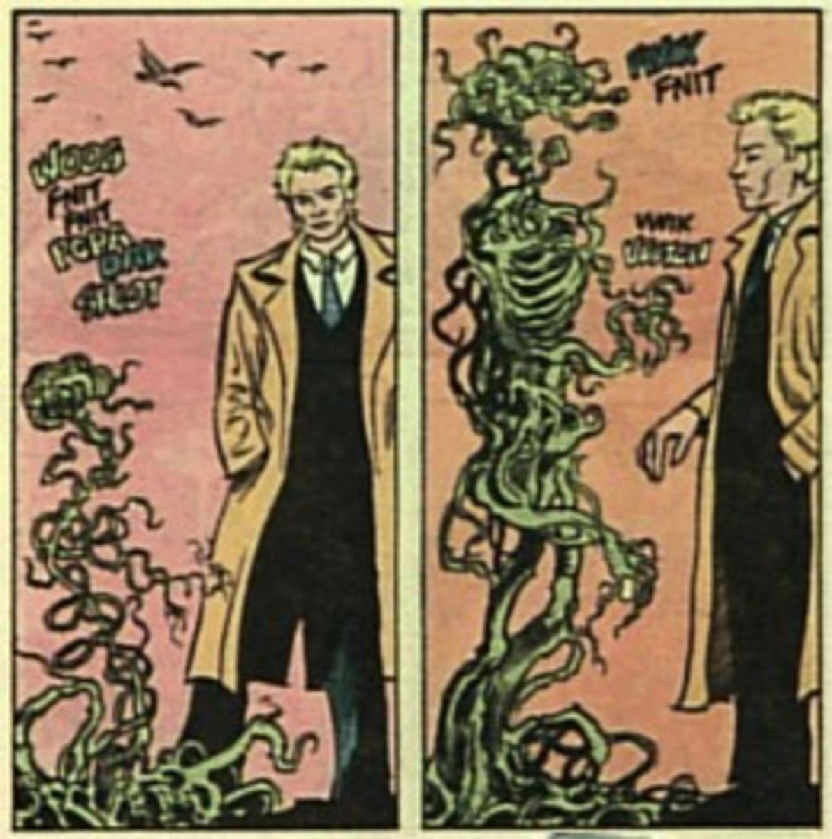 Constantine keeps himself composed as Swamp Thing...composes himself.