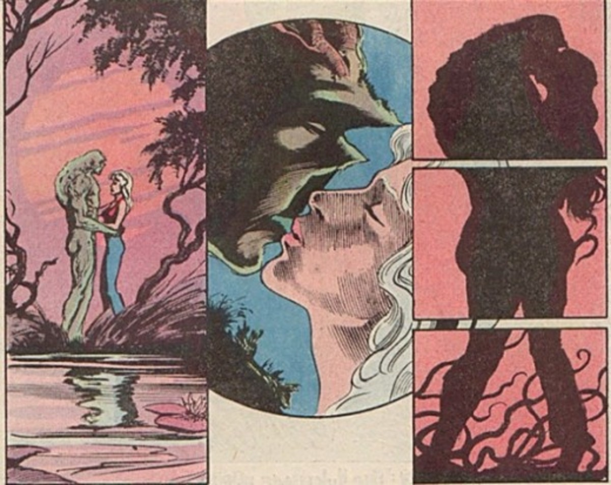 Abby and Swamp Thing share a moment.