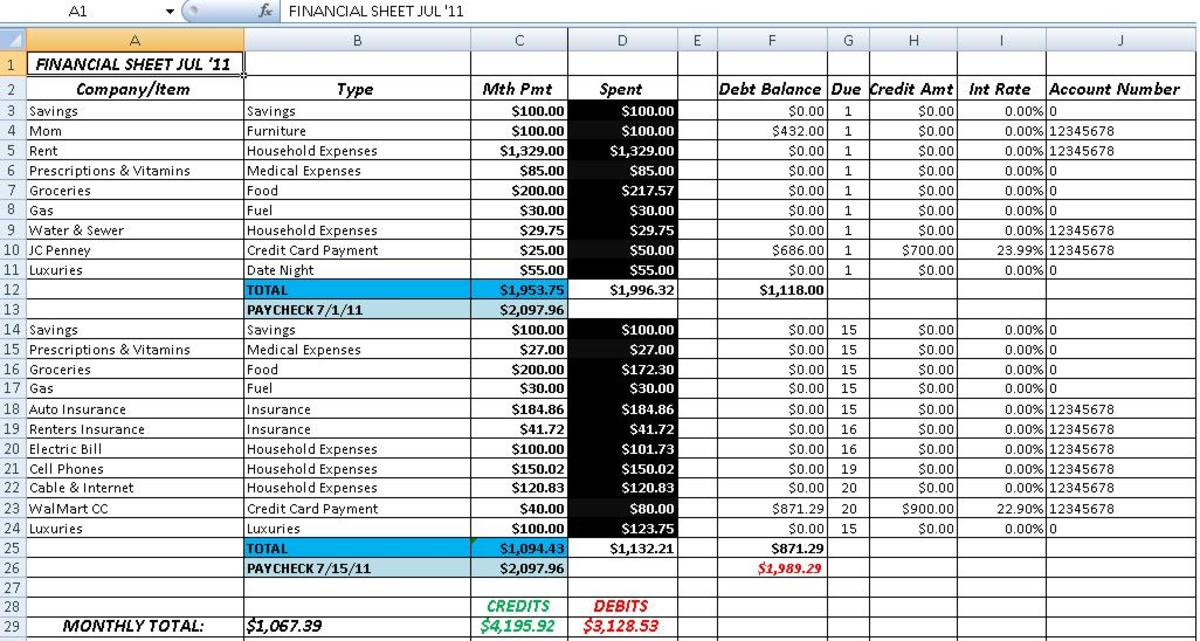 This Balance Sheet was done in Excel.  Each month, add a new tab and change as needed.  I recommend you open a brand new spreadsheet for each year.