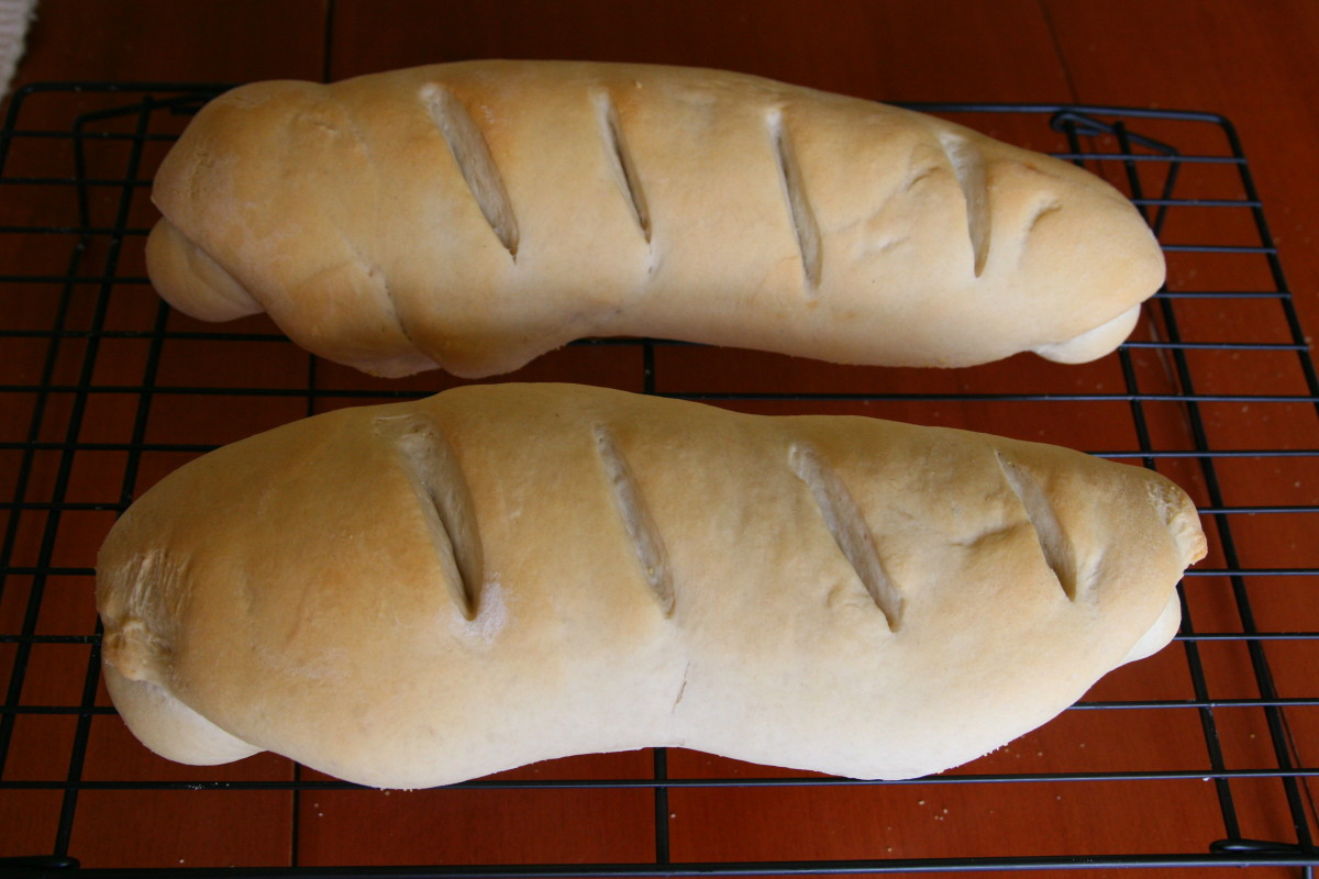 Make baguettes with a simple ingredient list of flour, sugar, salt, yeast, and water.