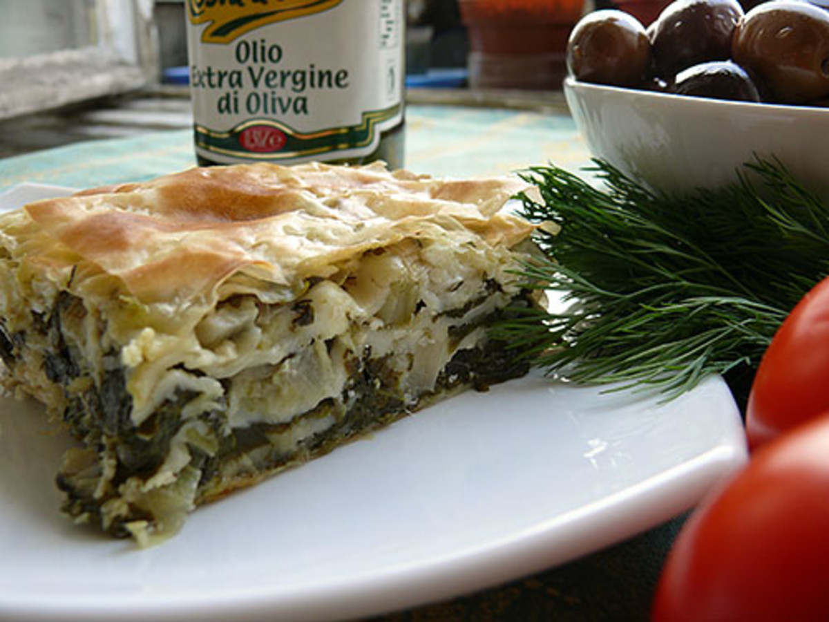 Layered Banitza with spinach and cheese made with thicker home-made filo pastry