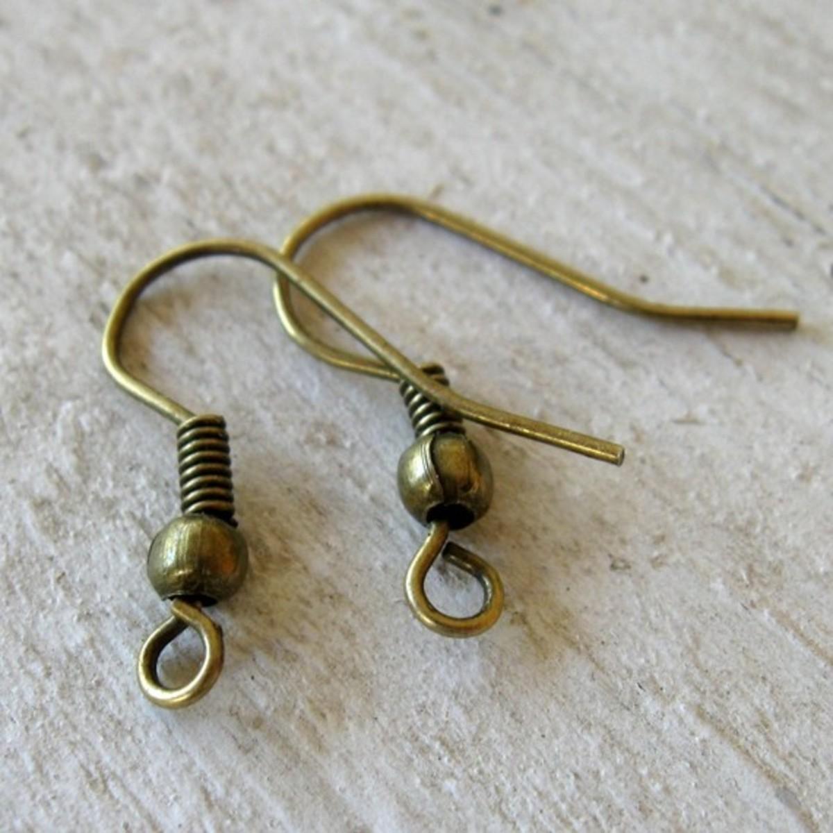 Vintage style earring hooks for pierced ears