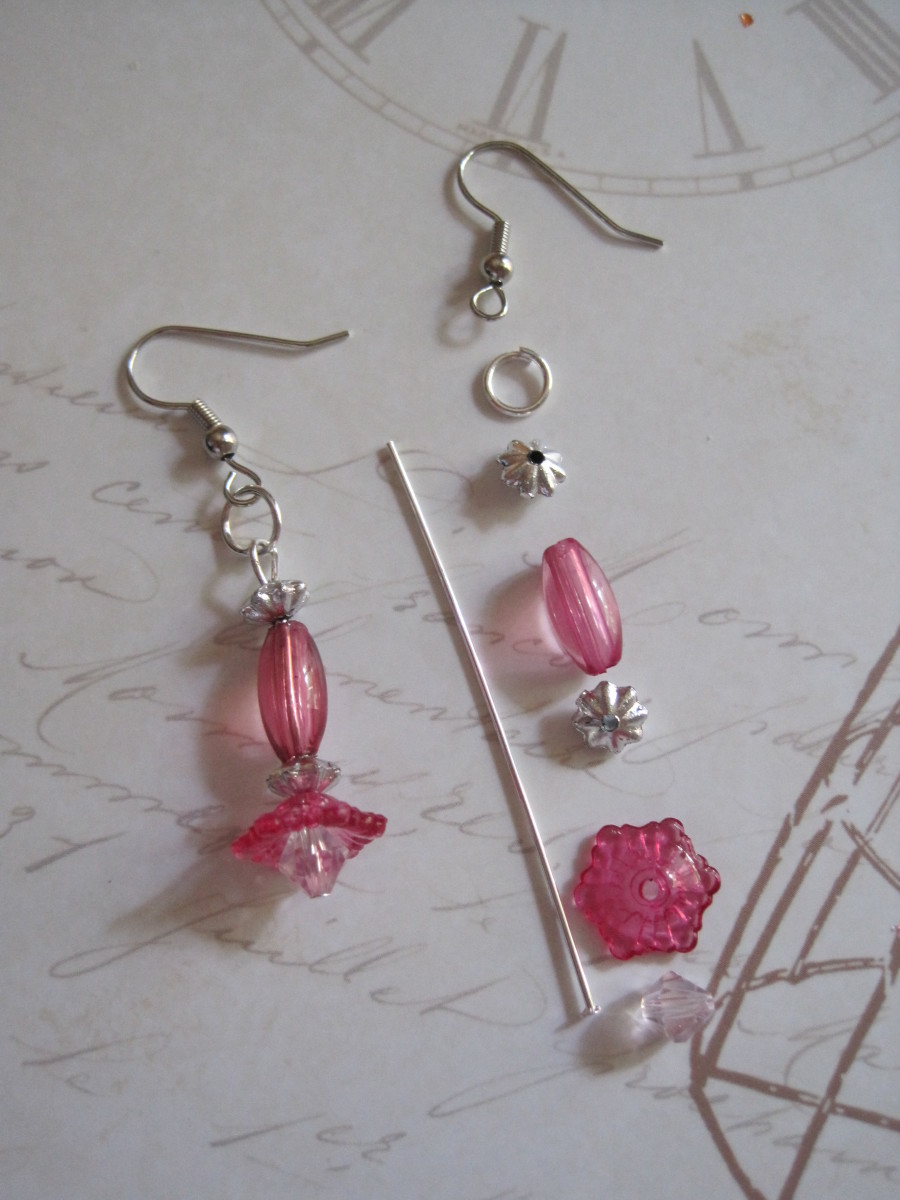 Layout for a basic pair of Trumpet Flower Earrings