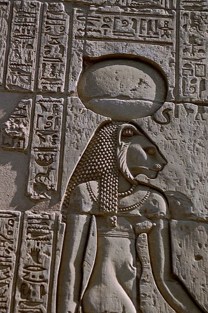 Egyptian portrayal of Sekhmet in anthropomorphic form.
