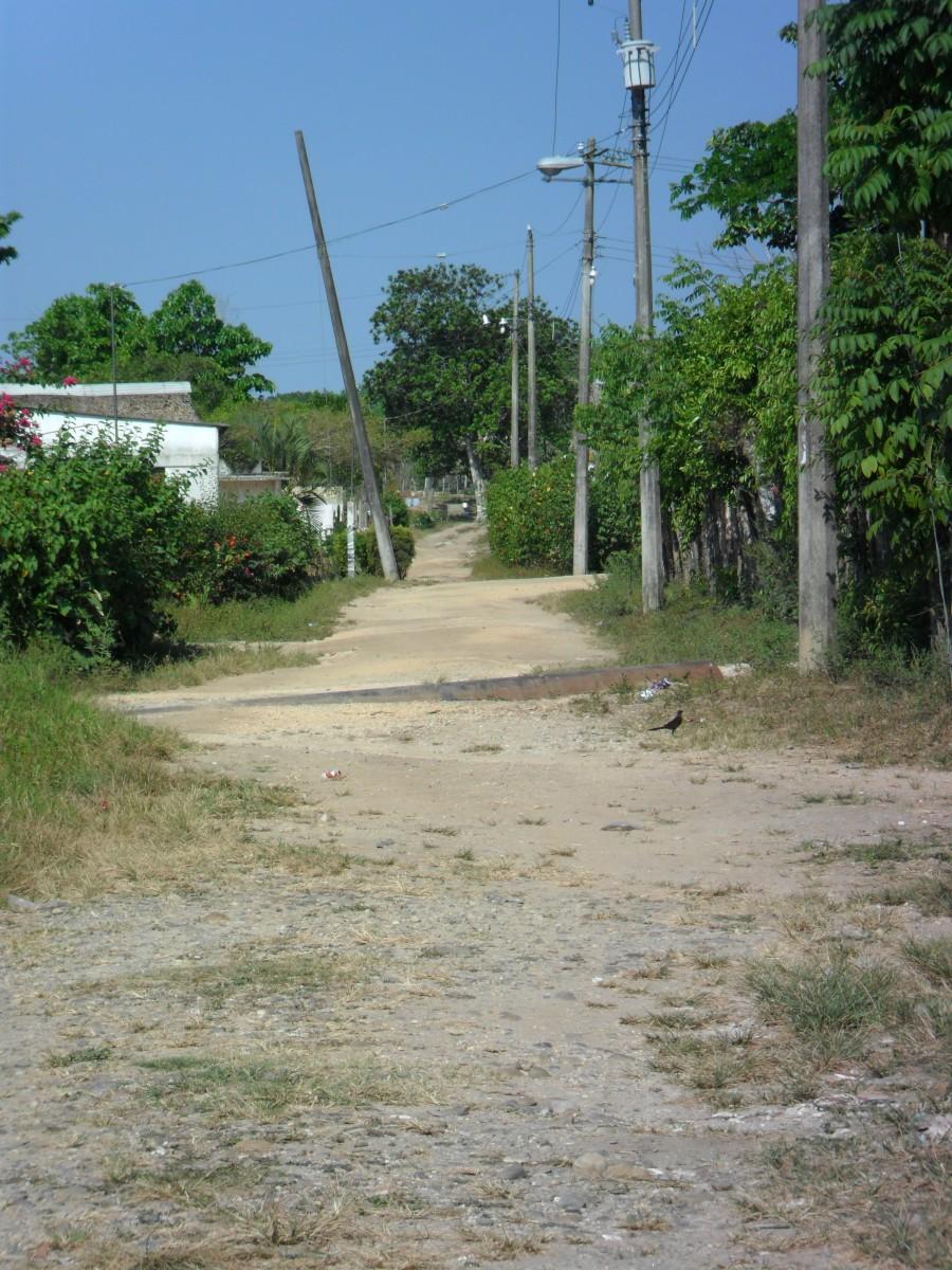The road less traveled, village road, Los Soldados, Veracruz, Mexico