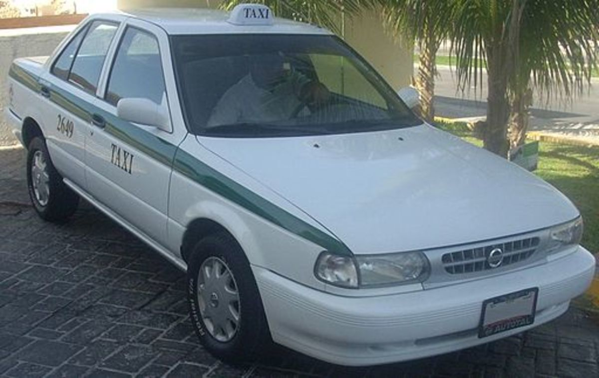 When traveling in Mexico, make sure you only use taxis well marked like this one.