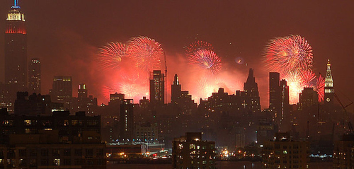 Macy's 4th of July, seen from Union City NJ.