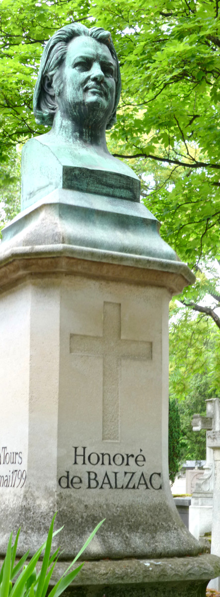 Grave bust of Honore de Balzac.