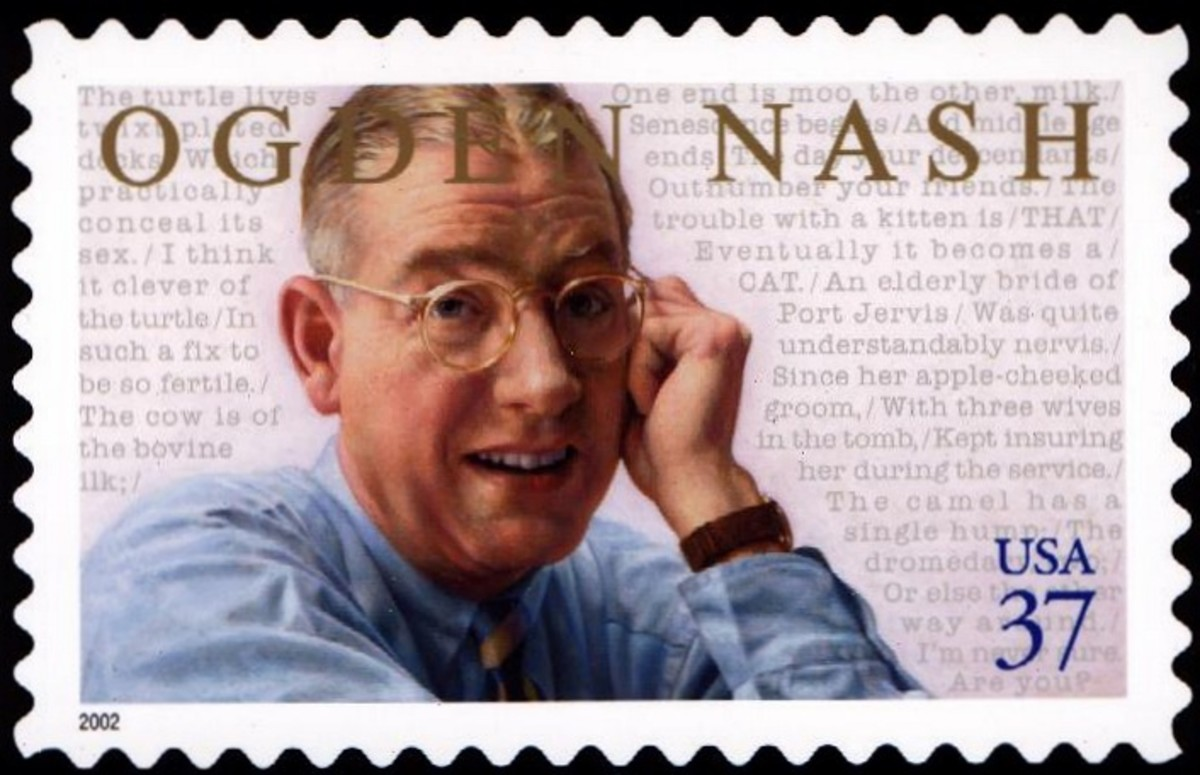 Ogden Nash postage stamp, issued by US Postal Service- The only postage stamp in the world to contain the 'word' sex. Albeit in the gender sense.