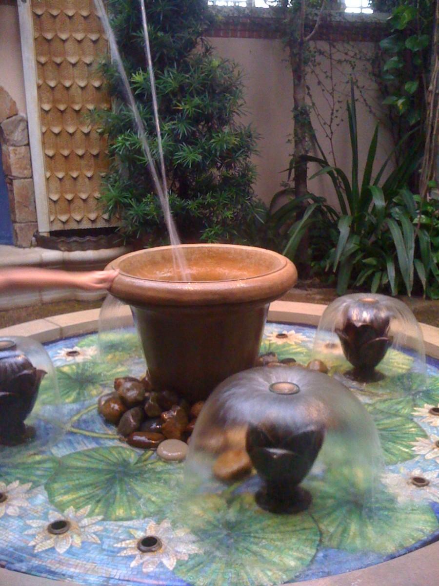 A fountain in the indoor children's garden at Longwood Gardens.