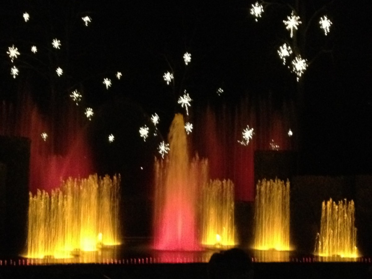 The holiday fountain show at Longwood Gardens.