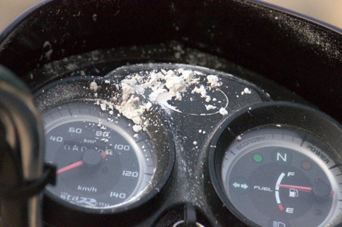 The lumps of vibhuti which had appeared on the dials of a motorbike.