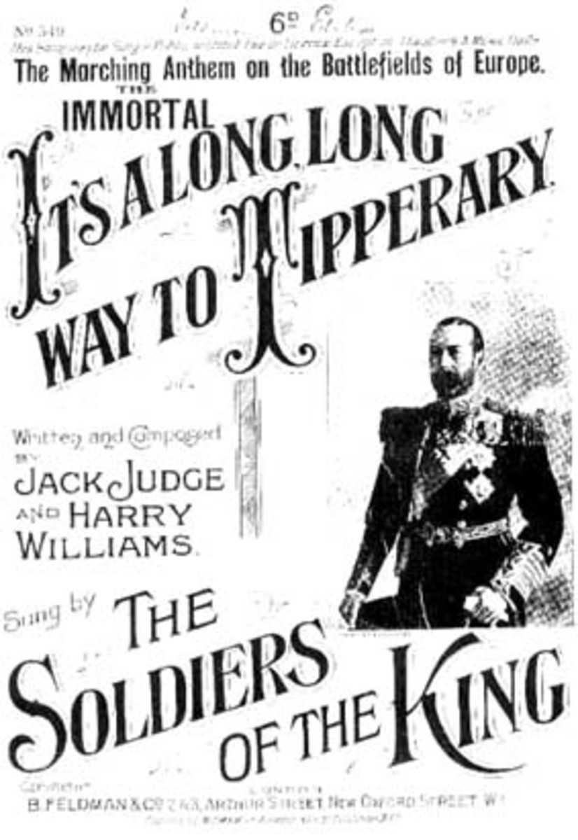 Contemporary sheet music cover for the enduring classic World War 1 song, It's a Long Way to Tipperary.