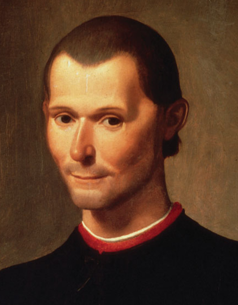 Santi di Tito's famous portrait of Niccolò Machiavelli, now residing in the Palazzo Vecchio in Florence, Italy; headcrop.