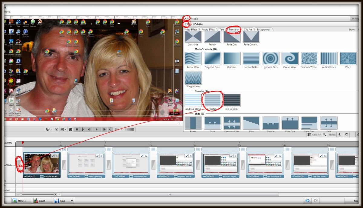 Close 'My Media' (it is highlighted in red at the top middle of this screenshot) by clicking on the small triangle at the end of it's dialogue box. By similar means open up the 'effects palette' and click the 'transition' icon, scroll down and drag a