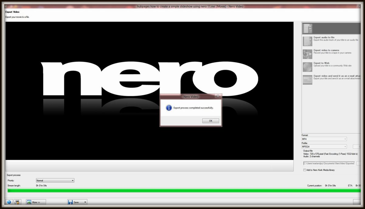 Once the rendering has completed a dialogue box will pop up and inform you the video has successfully been exported. Left click the 'OK' icon on the pop up box.