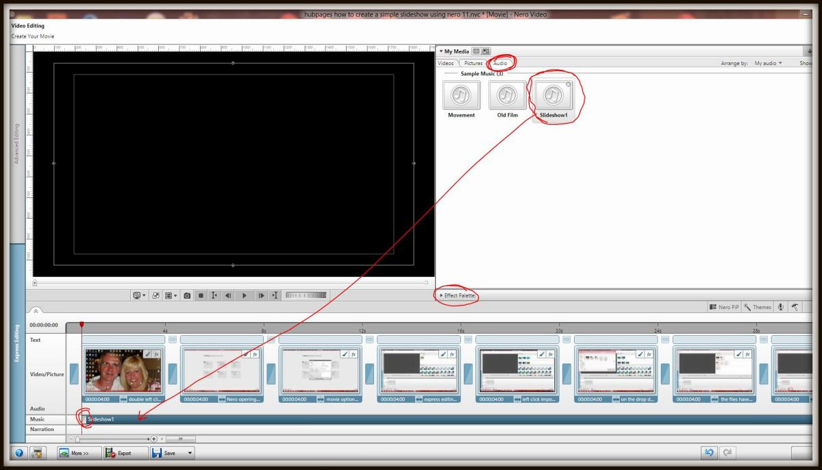 Close the effects pallet in the manner described in section 11 then click the 'Audio' icon and in a similar manner to when positioning images drag and drop the sound file to the beginning of the 'Music timeline'. The sound file cannot be positioned i