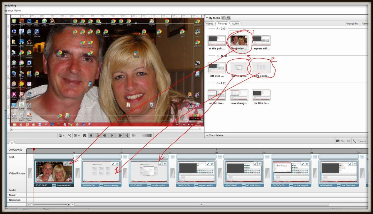Left click and hold then drag the chosen image or images in the desired order to the timeline viewer. Once the images are in place they can be re-arranged as desired using left click hold and drag to new position.