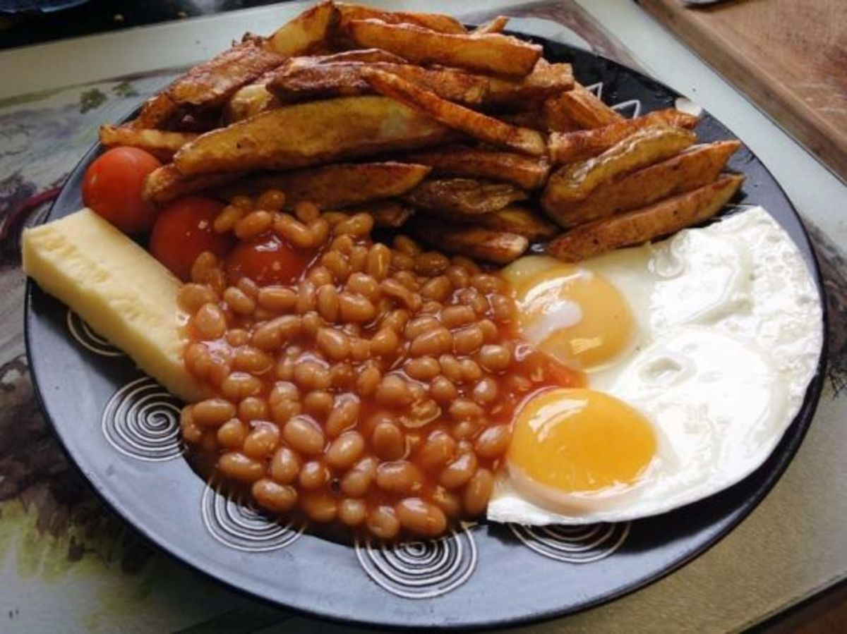 Egg, chips and baked beans