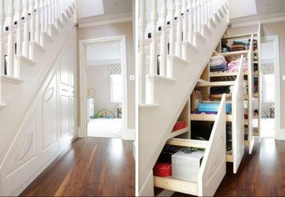 Loads of Storage Space Under the Stairs with Pull Out Cabinets