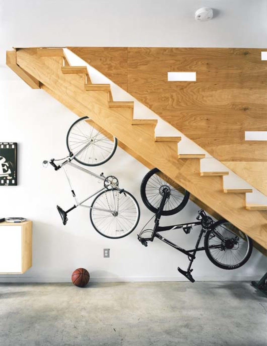 Creative Storage Underneath the Stairs - Store your bicycles