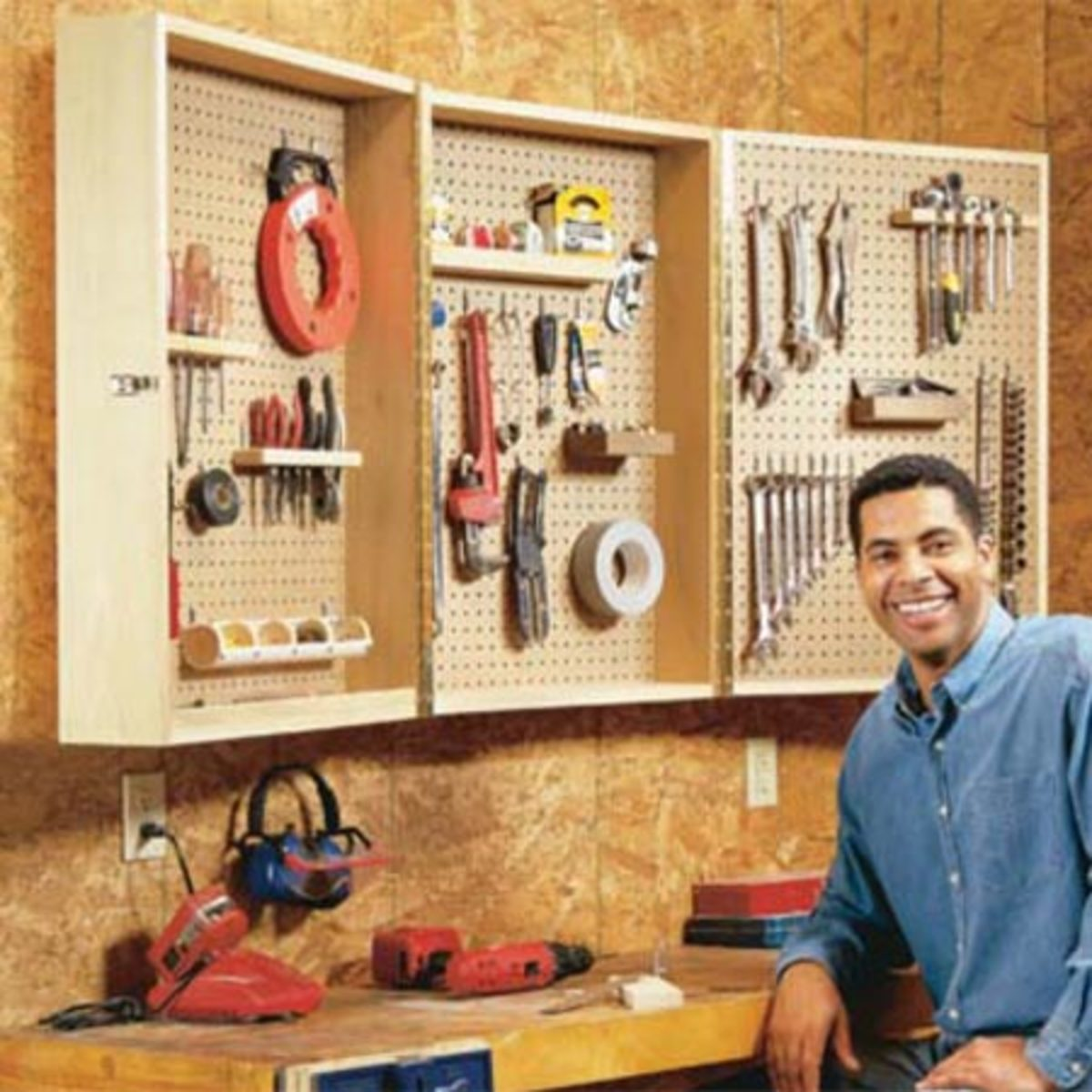 great pegboard storage ideas for the workbench