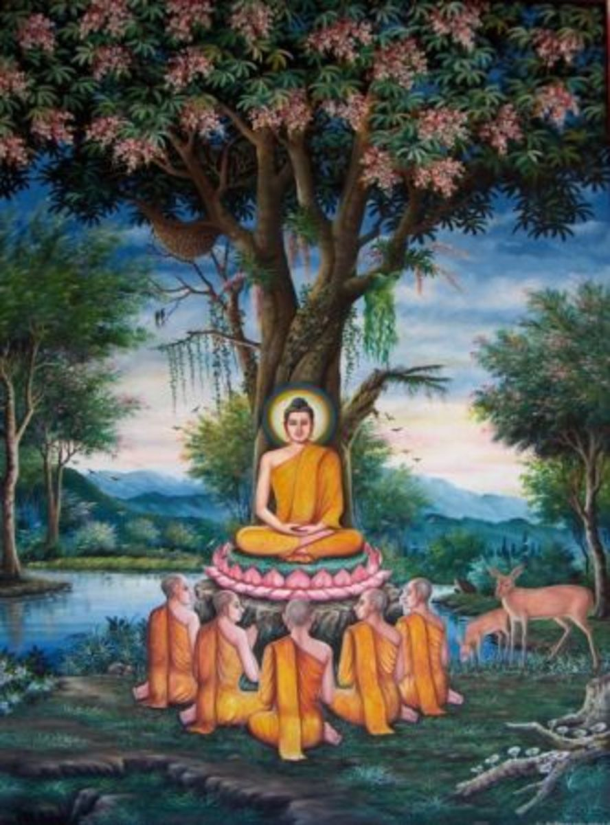 Buddha with his first five diciples