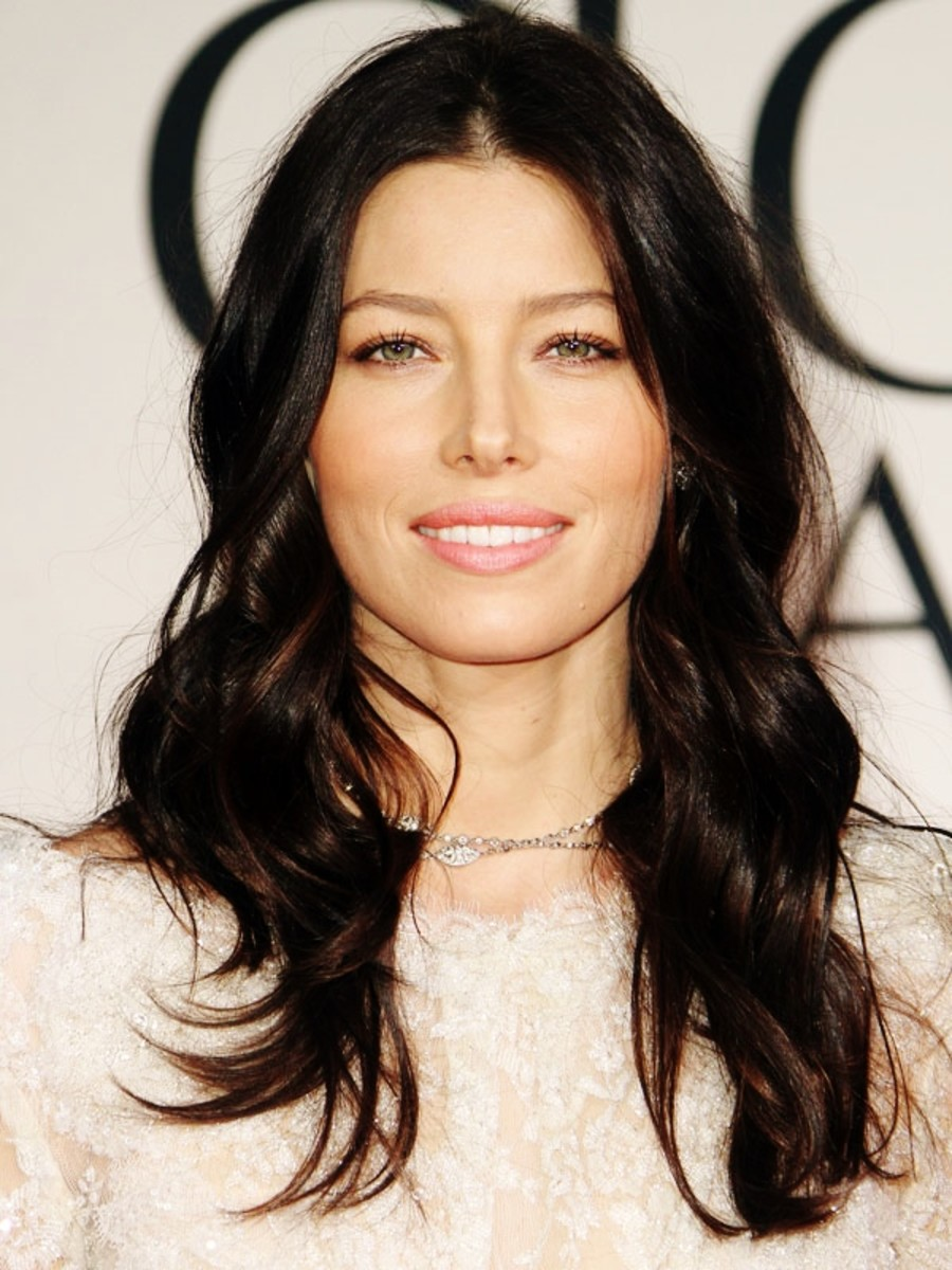 Jessica Biel with soft black hair and green eyes