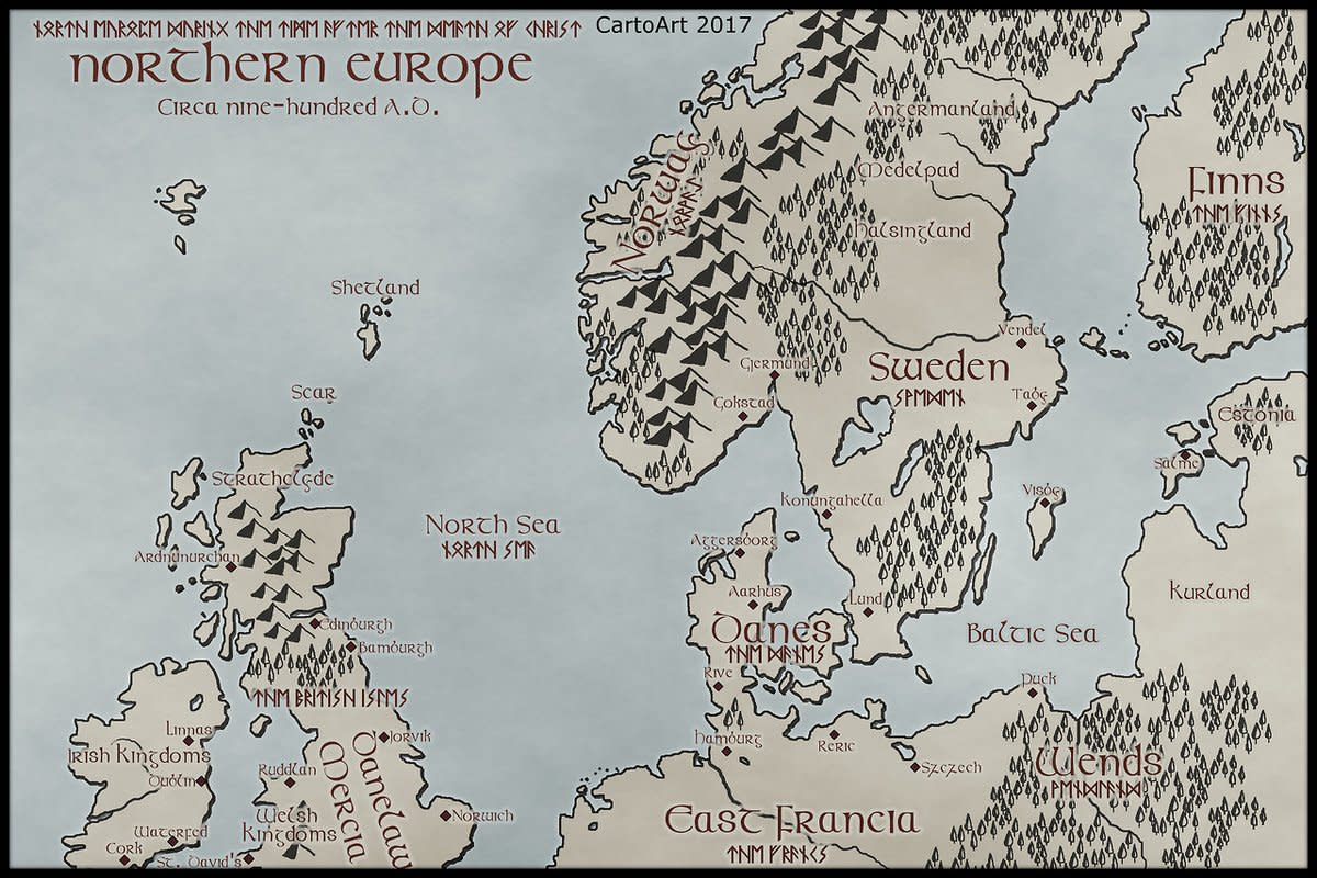 Kingdoms and peoples of Northern Europe and Scandinavia around the Eastern Sea around AD 900