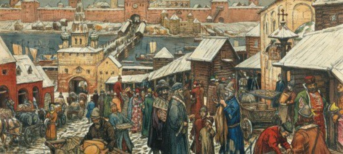 Holmgard, (Novgorod), the market, merchants and craftsmen lived and plied their trades on the west bank of the River Neva. On the east bank was the 'gard' (garth), the citadel where the prince and his retainers lived