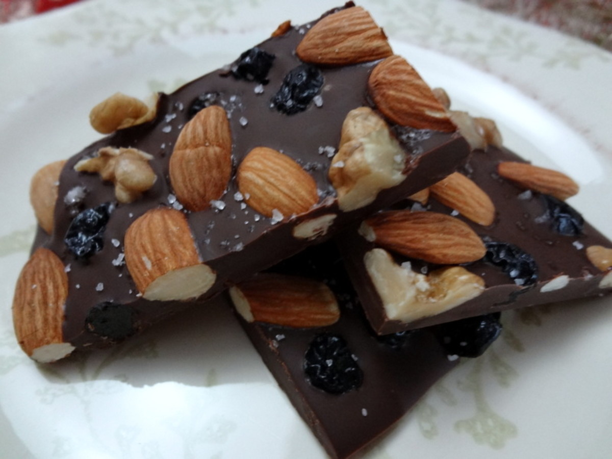 Dark Chocolate Bark with Carmelized Nuts & Pink Salt