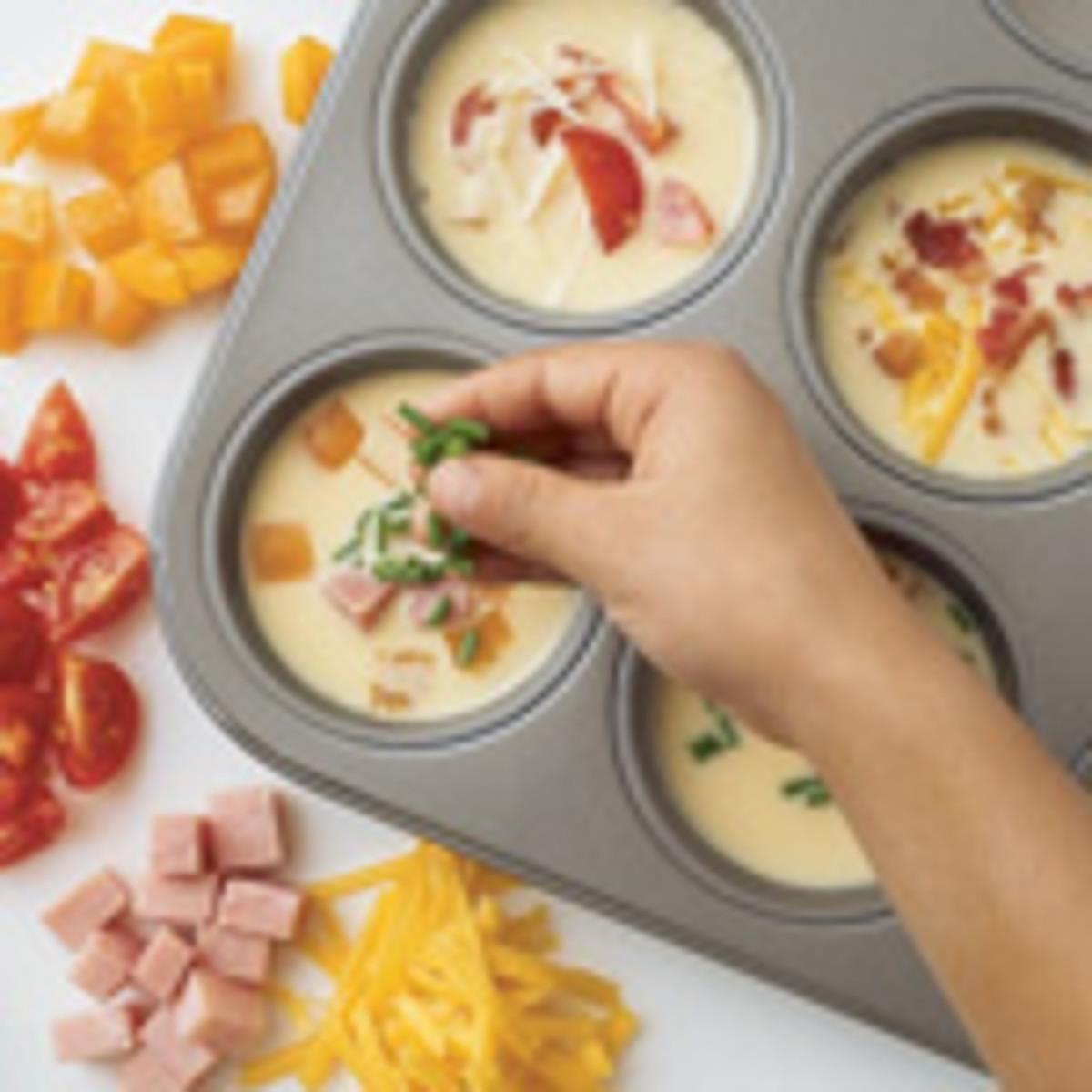 Mini Individual Omelettes or Frittatas. Perfect Kids Breakfast Idea