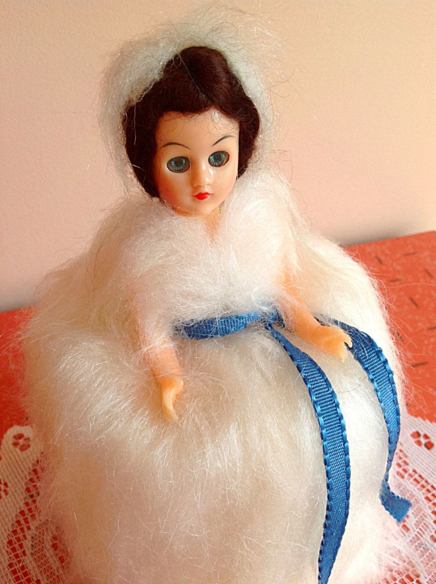 Usually made as crochet or knit. I think the furry doll is a creative change. If you want to buy a tissue roll/ toilet roll doll you can search places like eBay, Etsy, and other site which sell crafts, or dolls, or vintage things.