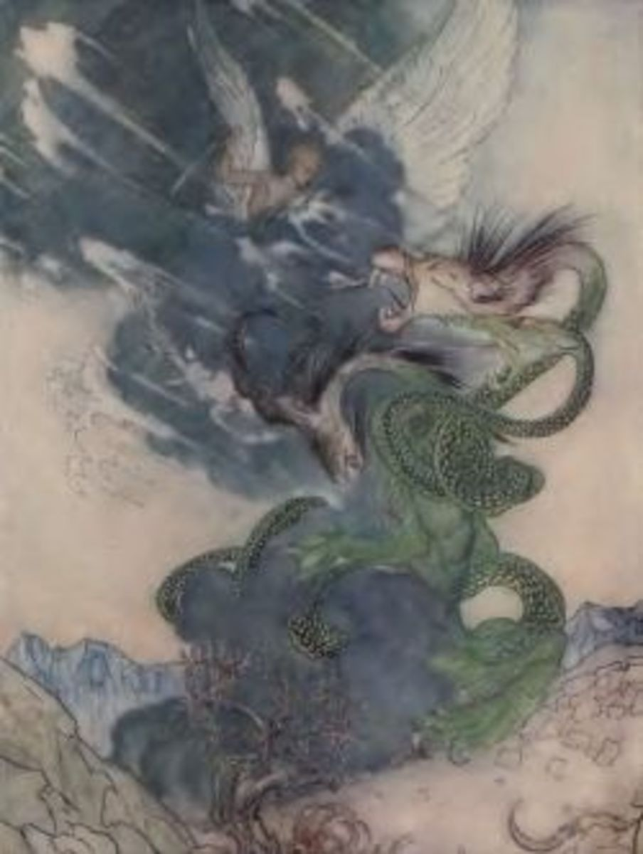 This scene with a dragon from Fantasy World Wonder Book is classical Rackham