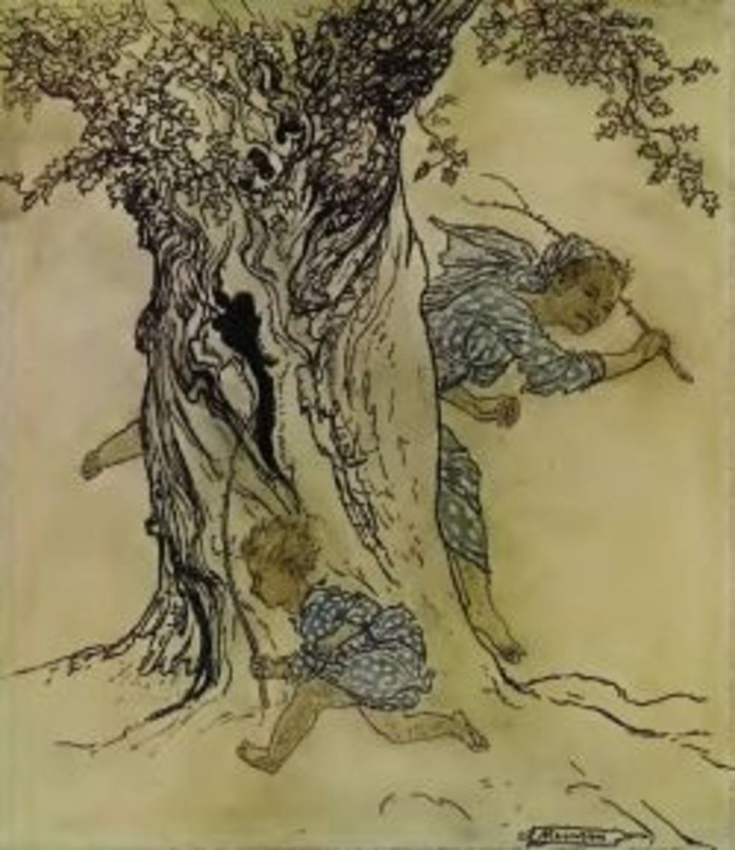 Scene from Childhood, one of Irish Fairy Tales, illustrated by Rackham