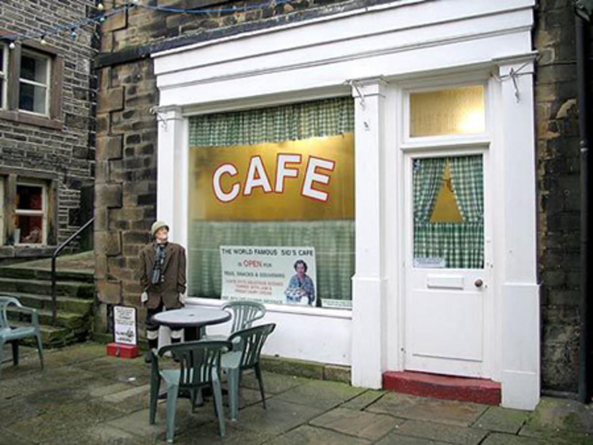 Back in town again for a rewarding cuppa at Sid's cafe, place of many a confrontation with Ivy, Sid's wife and widow. Her weapon of mass destruction was a metal tea tray applied liberally over Compo's head when crossed