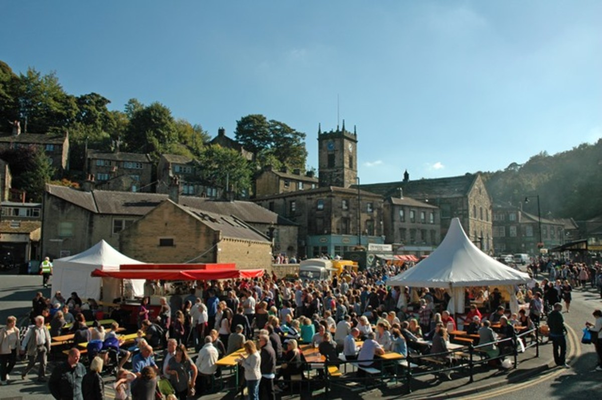 Holmfirth' s annual Food & Wine Festival -  Dales food: cheeses, meat pies, sausages, bacon, lamb, prime beef and pork roasts, Yorkshire puds...
