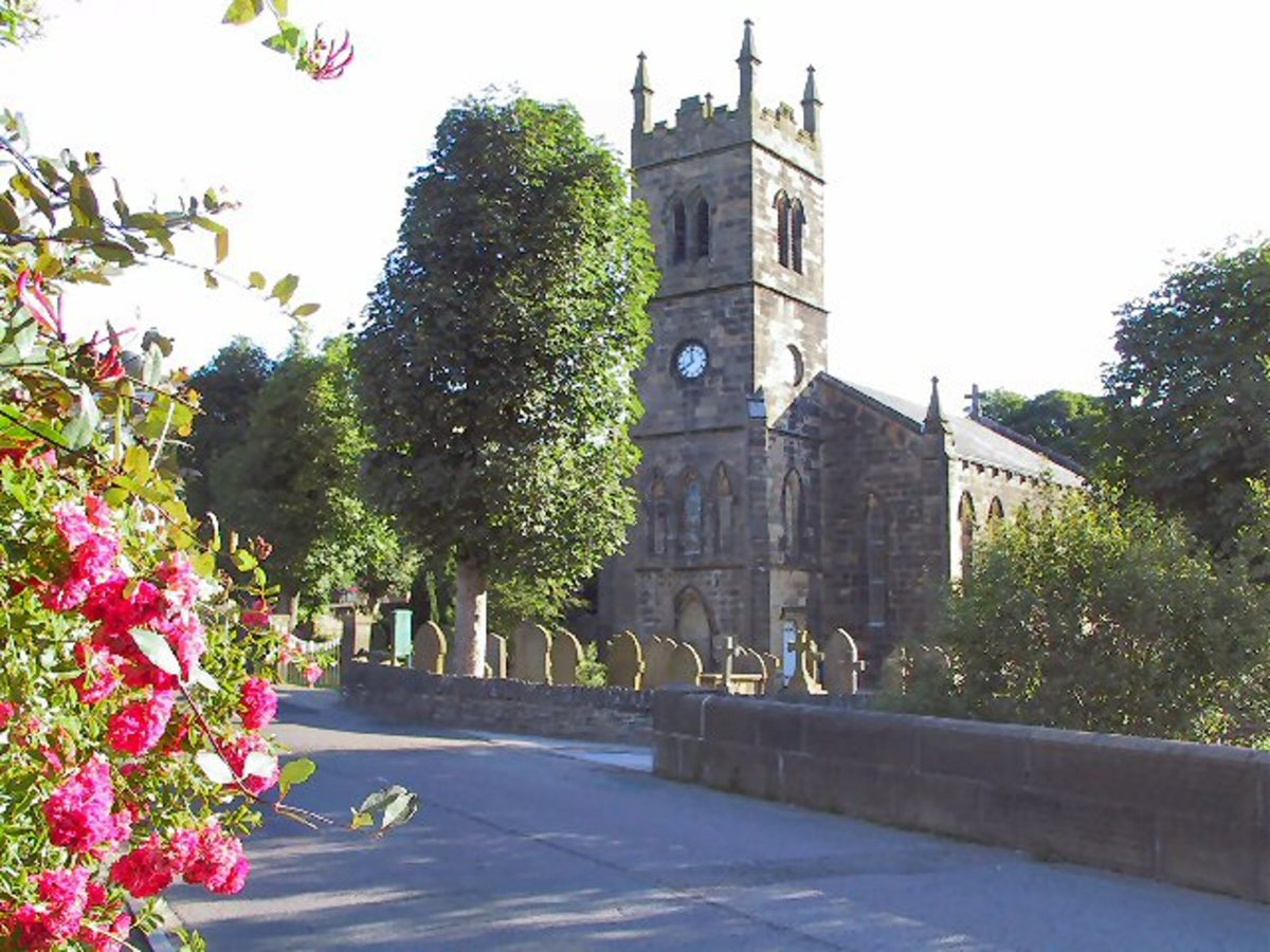 St David's parish church, Holme Bridge - a landmark pointed out by 'Cleggy' when he climbed the tallest tree in the area as he did in his youth - only to find he couldn't get down again