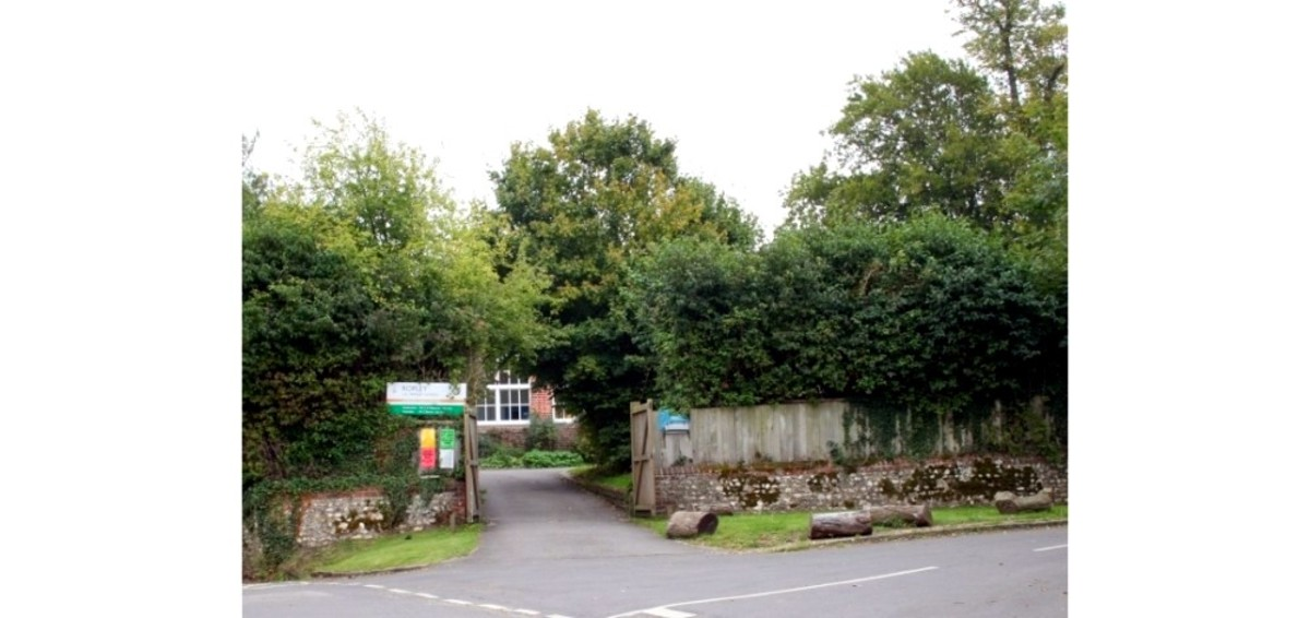 The entrance to an English village school