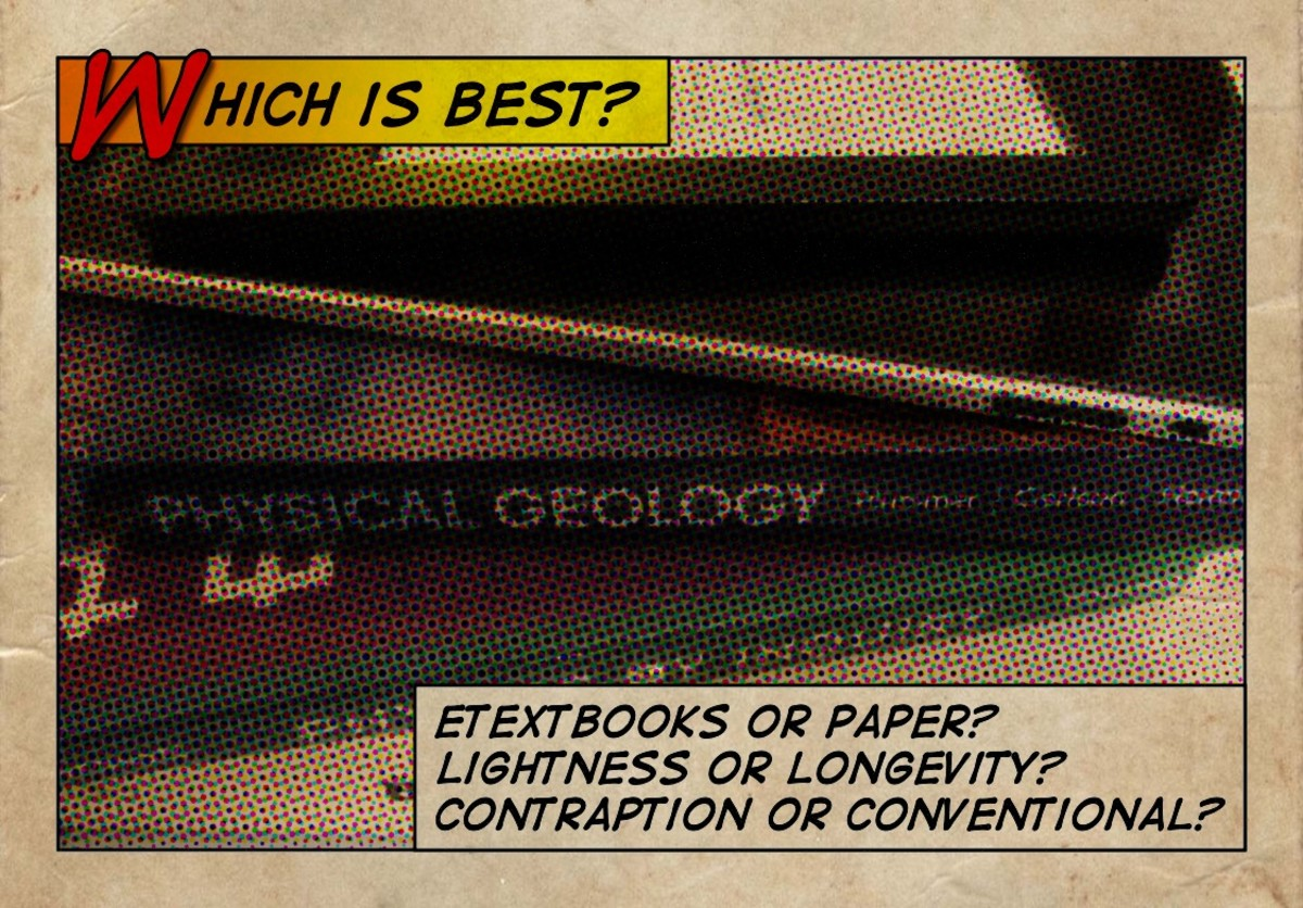 A stack of textbooks, an iPad 1, and a Kobo Web  eReader.  Which is best: eTextbooks or paper, lightness or longevity, contraption or conventional?